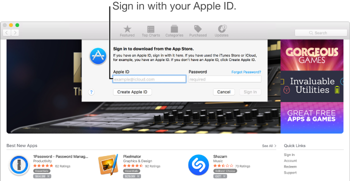 The App Store sign-in dialog