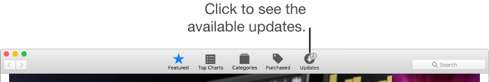 App Store toolbar showing the Updates button