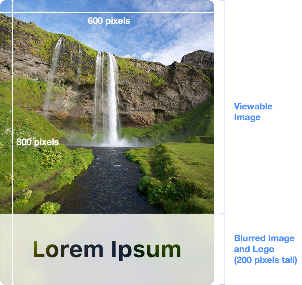 "A cover image that shows the allowable dimensions. A horizontal line appears near the top with the words ""600 pixels"" below. To the left is a vertical line with the words ""800 pixels"" to its right. The words ""Viewable image"" appear to the right of the cover image. Near the bottom of the image a callout reads ""Blurred Image and Logo (200 pixels tall)."""