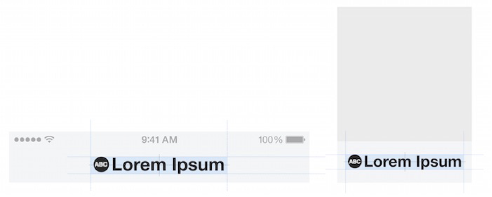 Two images showing a logo mark with transparent letters displayed in it. On the left is a logo called Lorem Ipsum that has a black-filled circle to the left with the transparent letters A, B, and C appearing within it. This logo appears at the top of an iPhone screen. On the right are the same logo, circle, and transparent letters. They appear at the bottom of a channel image displayed in the News app.