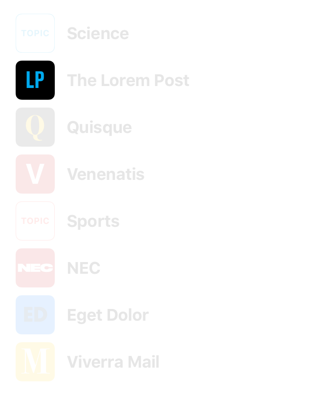 A menu of icons with the LP icon near the top, showing rounded corners and the letters LP inside.