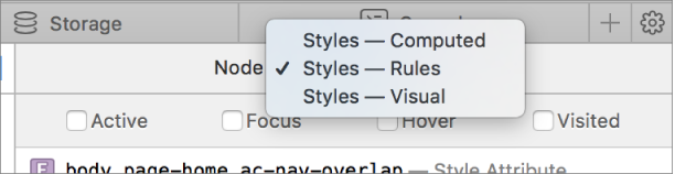 This screenshot shows the Styles menu in the details sidebar of the Elements tab.