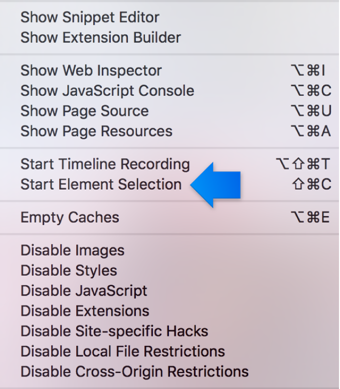 This screenshot shows the Start Element Selection feature.