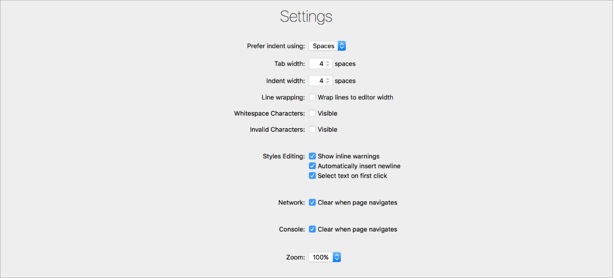 This screenshot shows the Settings options.