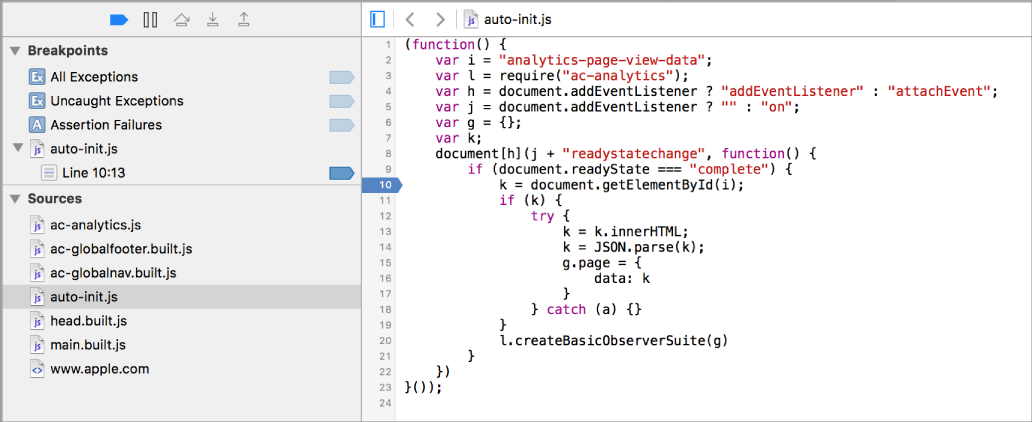 This screenshot shows a breakpoint added to the code.