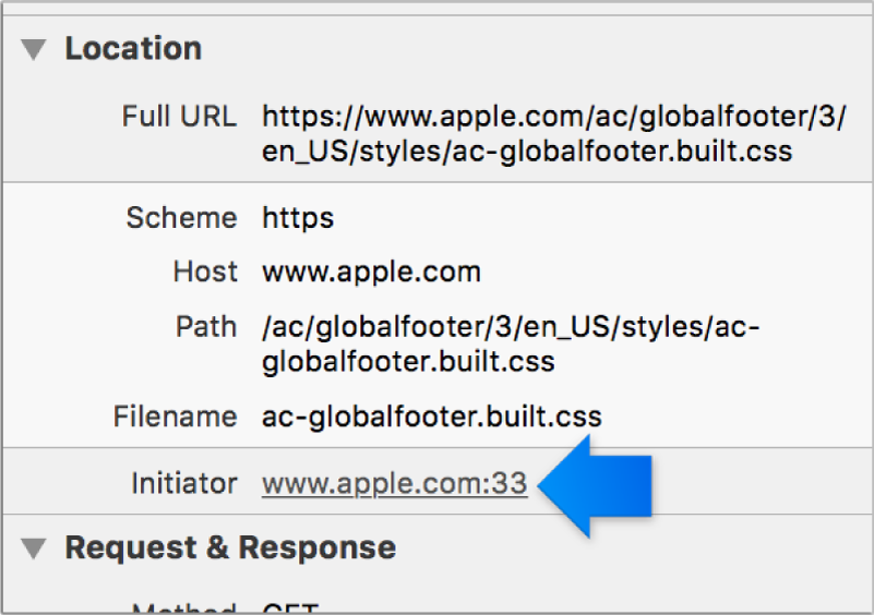 This screenshot shows the Initiator link for a resource in the details sidebar.