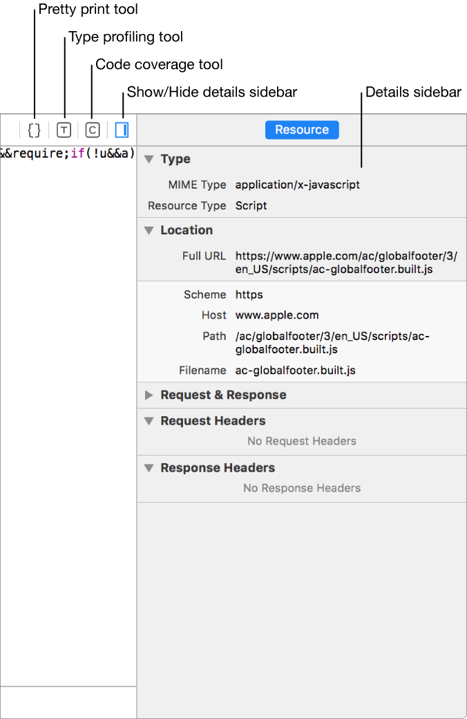 This screenshot shows the resource details sidebar.