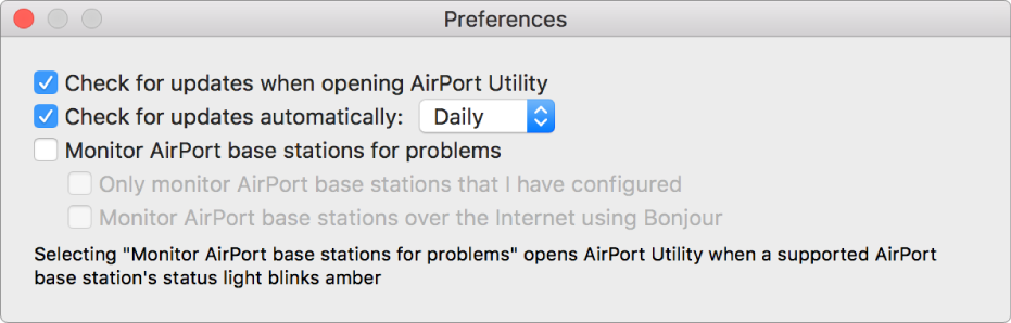 AirPort Utility preferences, showing the Check for updates when opening AirPort Utility and Check for updates automatically checkboxes.