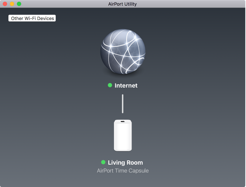 The graphical overview, showing an AirPort Time Capsule connected to the Internet.