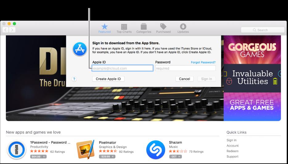 علامة AppleID في نافذة في AppStore.