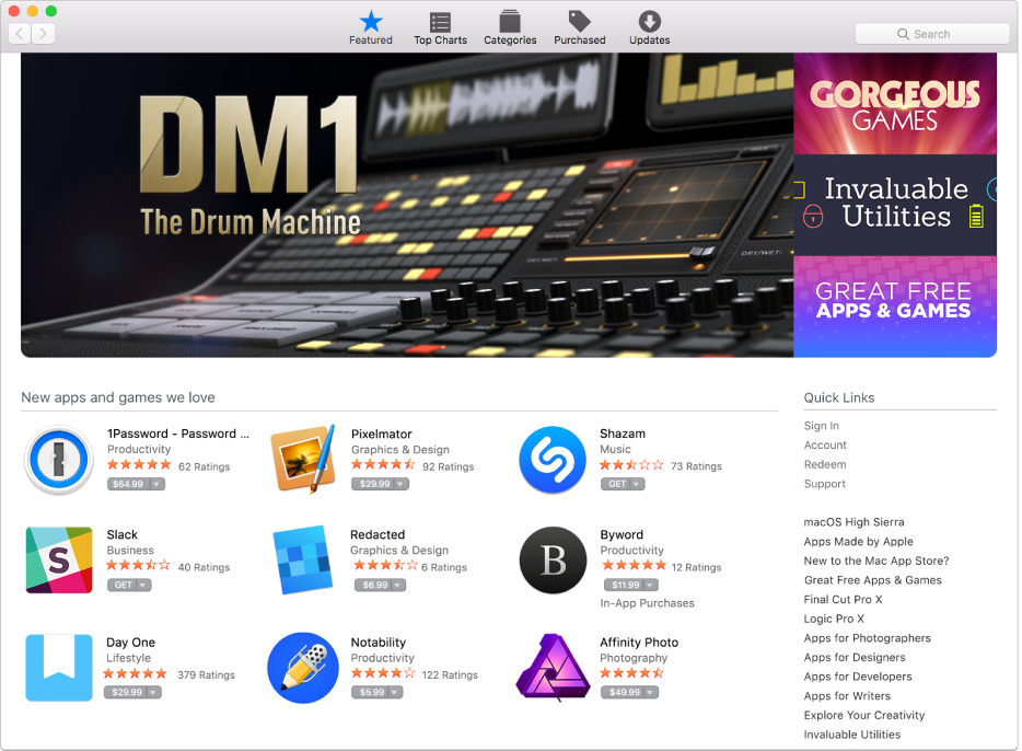 Featured apps in the App Store.