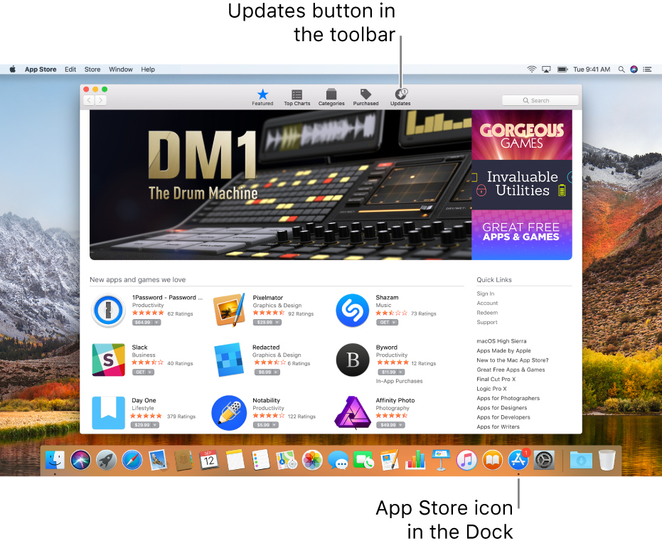 Badges in the App Store window and on the App Store icon in the Dock show that updates are available.