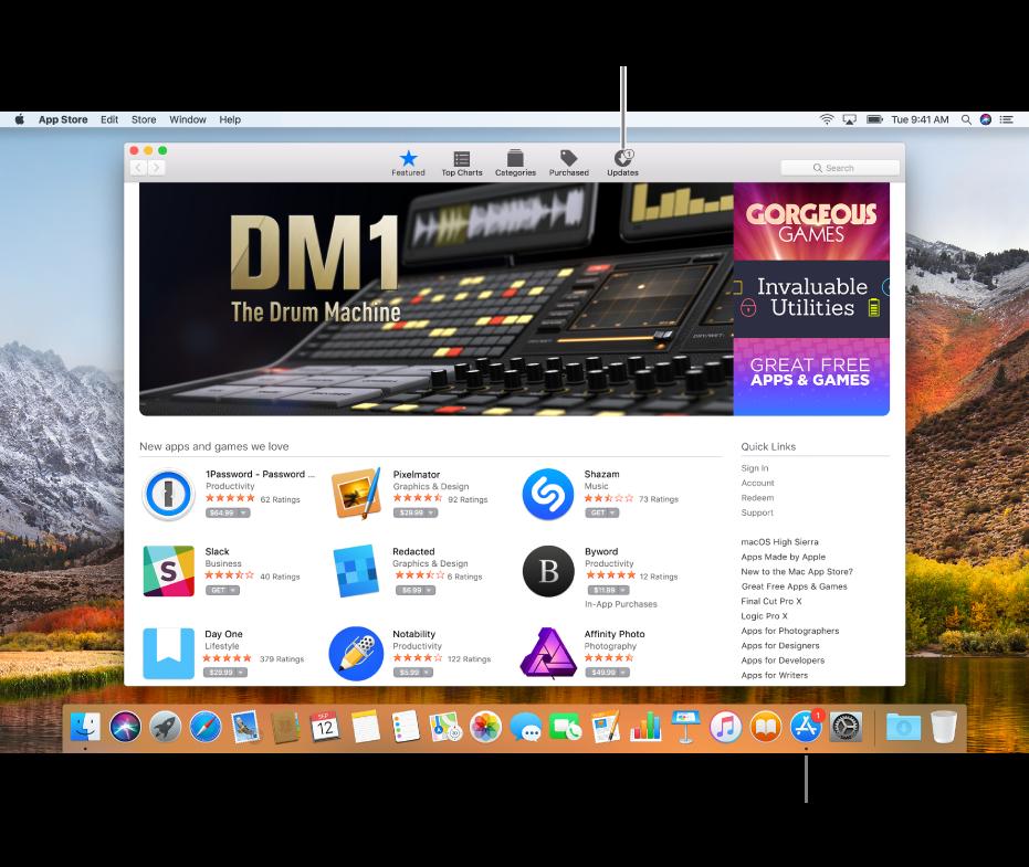 Indicadores en la ventada de App Store, y sobre el ícono de App Store en el Dock, que indican que hay actualizaciones disponibles.