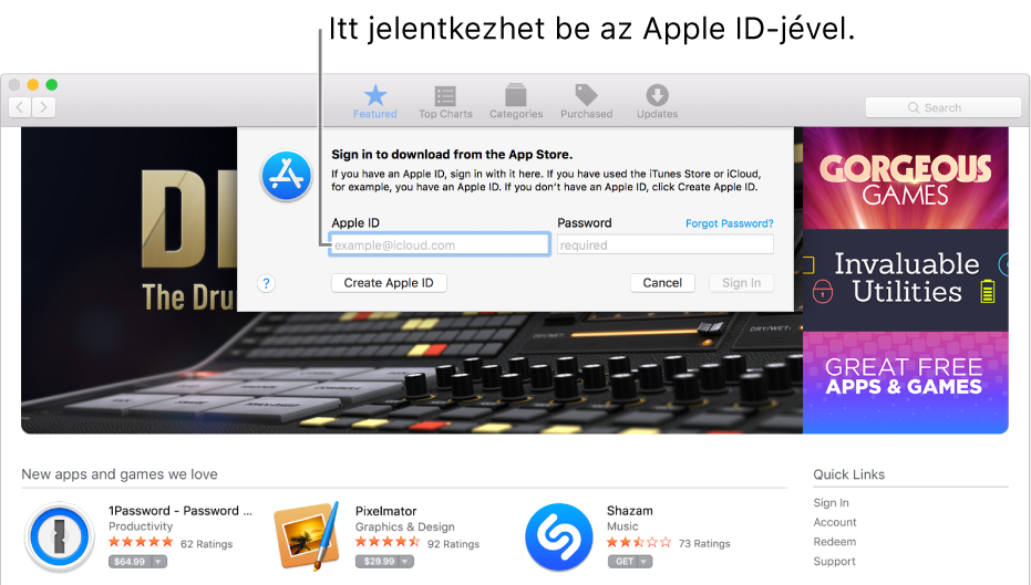 Az Apple ID bejelentkezési ablaka az App Store-ban.