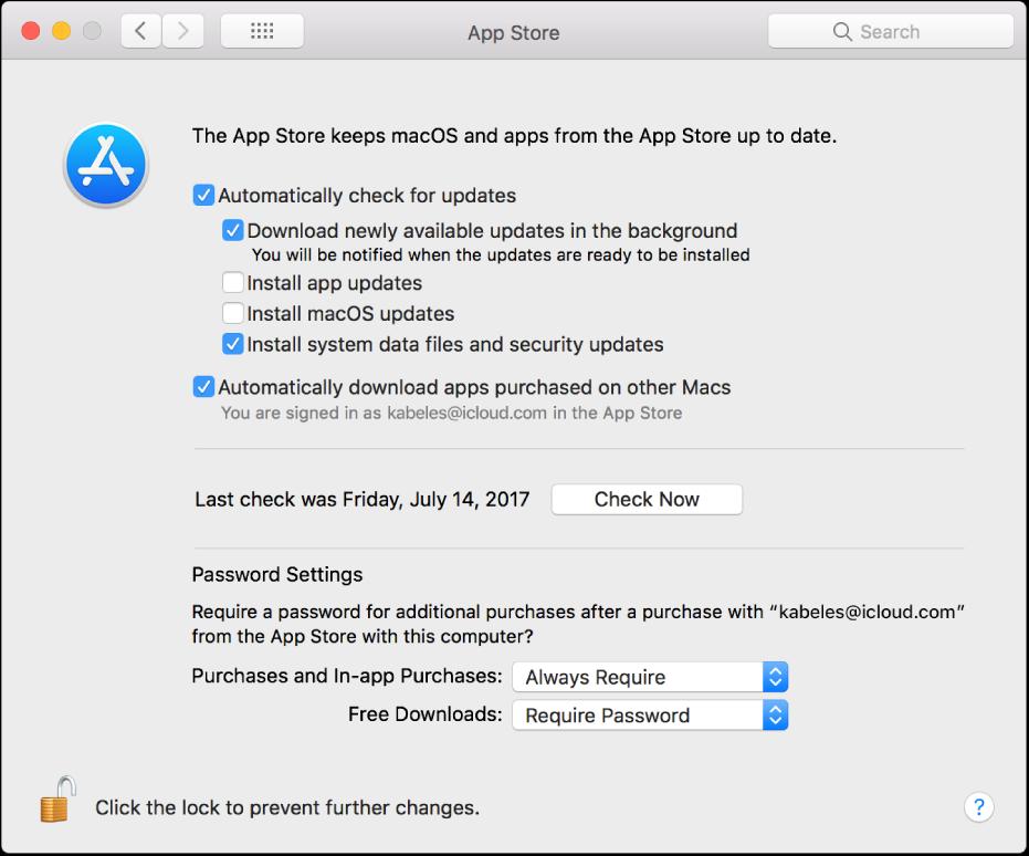 Opzioni di aggiornamento nelle preferenze di App Store.