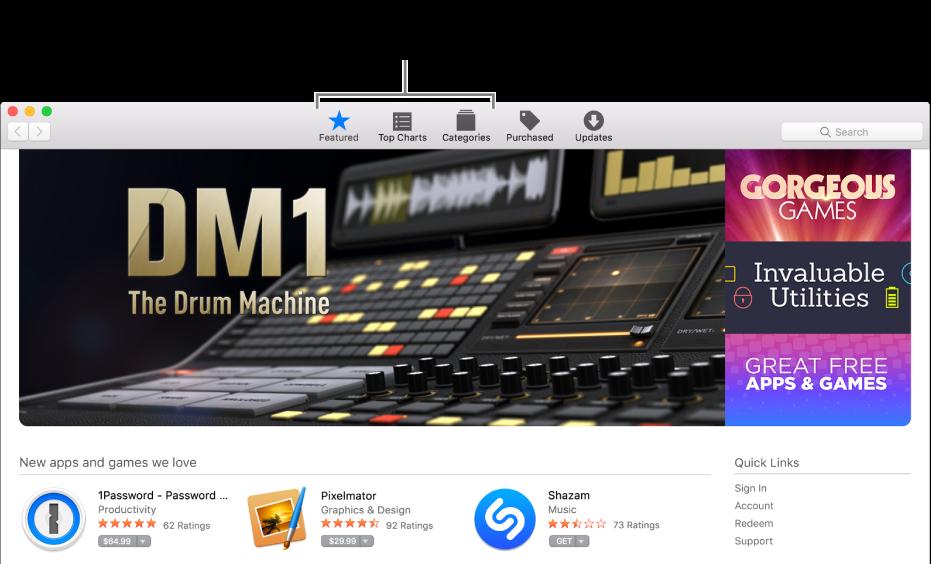 As áreas Destaques, Top Charts e categorias na App Store.