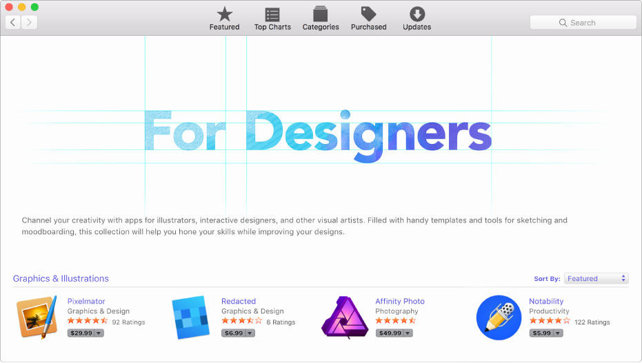 """A vista """"Em destaque"""" na App Store."""