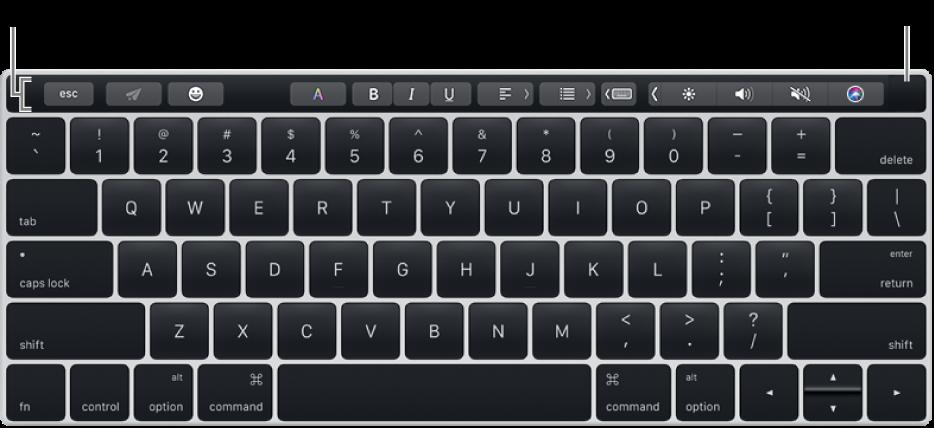 Multi-Touch Bar 横贯键盘的顶部;Touch ID 位于 Multi-Touch Bar 的右端。