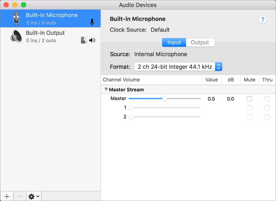 The Audio MIDI Setup window.