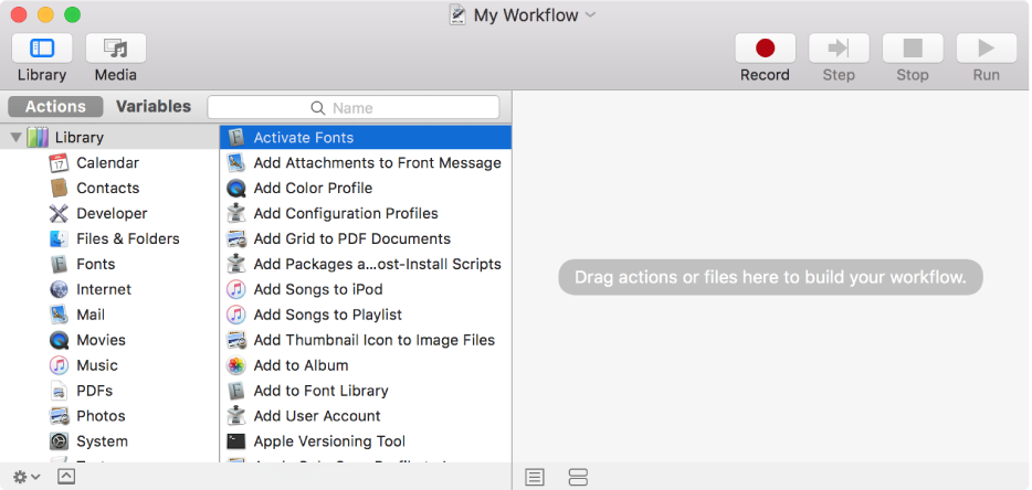 The Automator window showing the Activate Fonts action selected and an empty workflow.