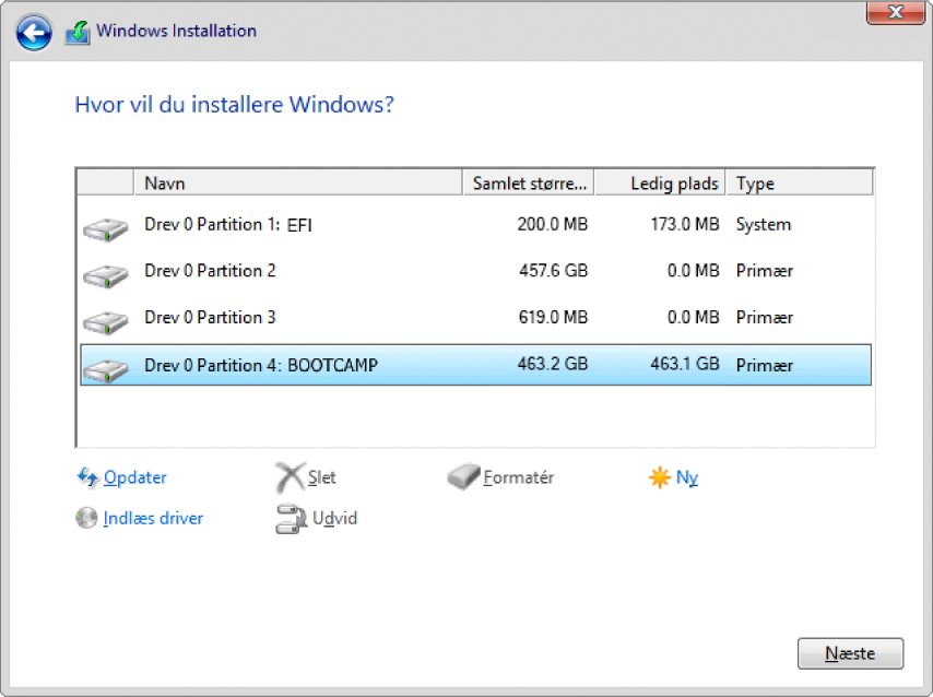 Windows-installation. Skærm med oplysninger om, hvor du vil installere Windows med BOOTCAMP-partition valgt.