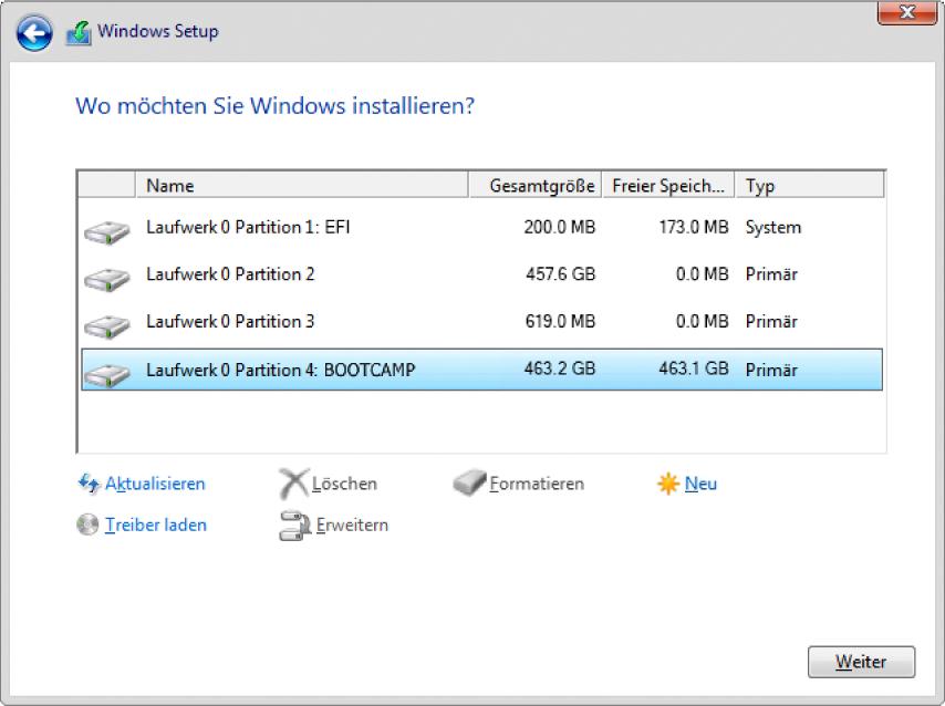 Windows-Installationsprogramm Bildschirm mit Frage nach dem Windows-Installationsziel mit ausgewählter BOOTCAMP-Partition.