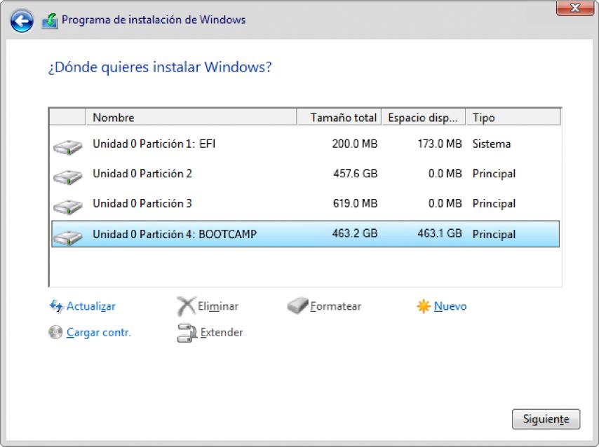 """Instalador de Windows. Pantalla """"¿Dónde deseas instalar Windows?"""" con la partición BOOTCAMP seleccionada."""