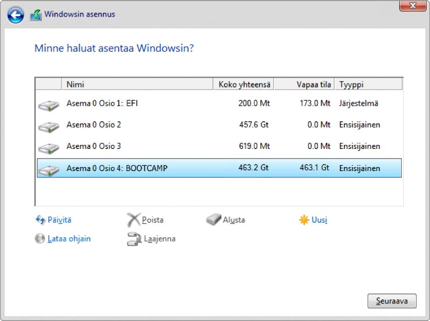 Windowsin asentaja. Minne Windows asennetaan -näyttö, jossa on BOOTCAMP-osio valittuna.
