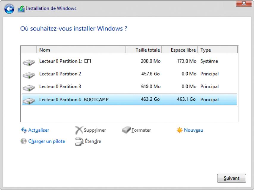 Windows Installer. Écran d'emplacement d'installation de Windows avec la partition BOOTCAMP sélectionnée.