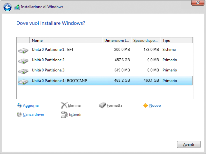 Windows Installer. La posizione in cui vuoi installare la schermata Windows con la partizione BOOTCAMP selezionata.
