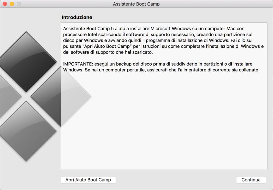 Pannello iniziale di Boot Camp con un pulsante che consente di visualizzare Aiuto e uno per continuare l'installazione.