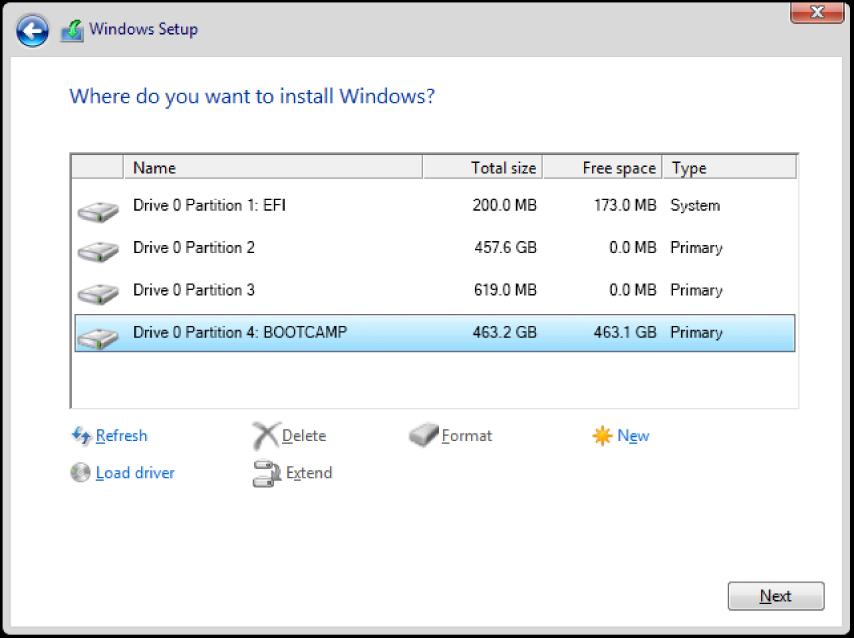 Windows-installerer. Skjermen «Hvor vil du installere Windows?» med BOOTCAMP-partisjonen markert.