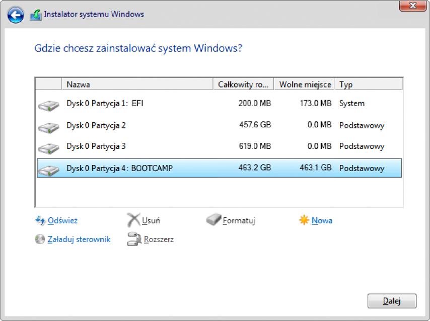 """Instalator Windows. Ekran """"Gdzie chcesz zainstalować system Windows?"""" zzaznaczoną partycją BOOTCAMP."""
