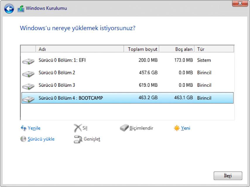 Windows Yükleyici. BOOTCAMP bölüntüsü seçili olarak Windows'u nereye yüklemek istiyorsunuz ekranı.