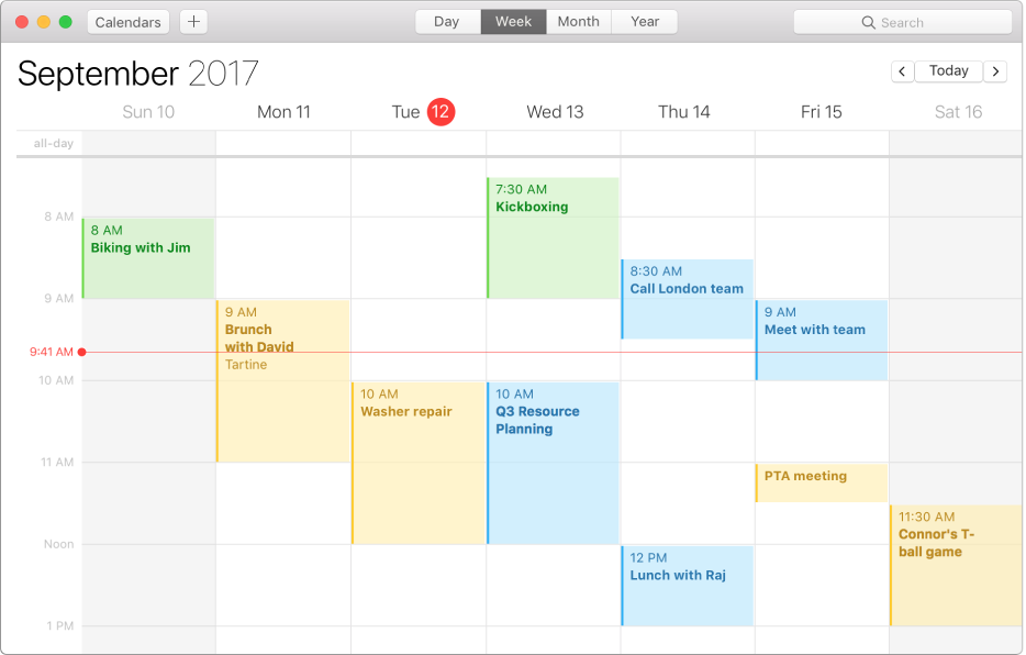 Prozor Kalendara u tjednom prikazu.