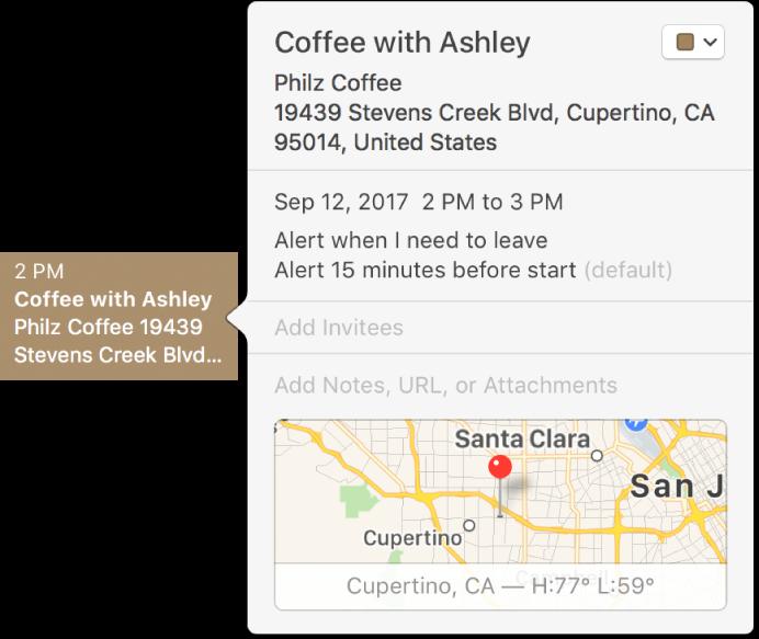 Janela de informações de um evento mostrando o nome e o endereço da localização em um mapa pequeno.