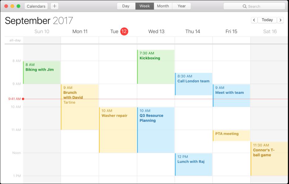 Fereastră Calendar în vizualizarea Săptămână.