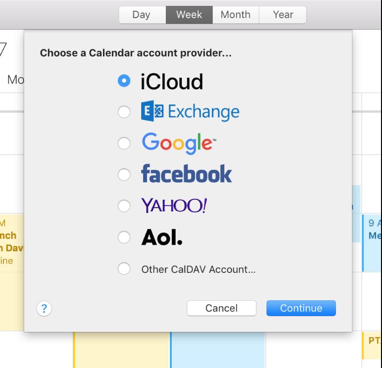 Okno aplikácie Kalendár zobrazujúce hárok Pridať účet.