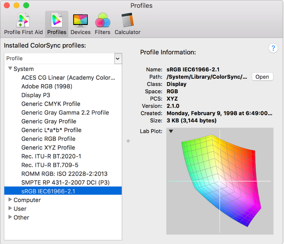 The ColorSync Utility Profiles pane.