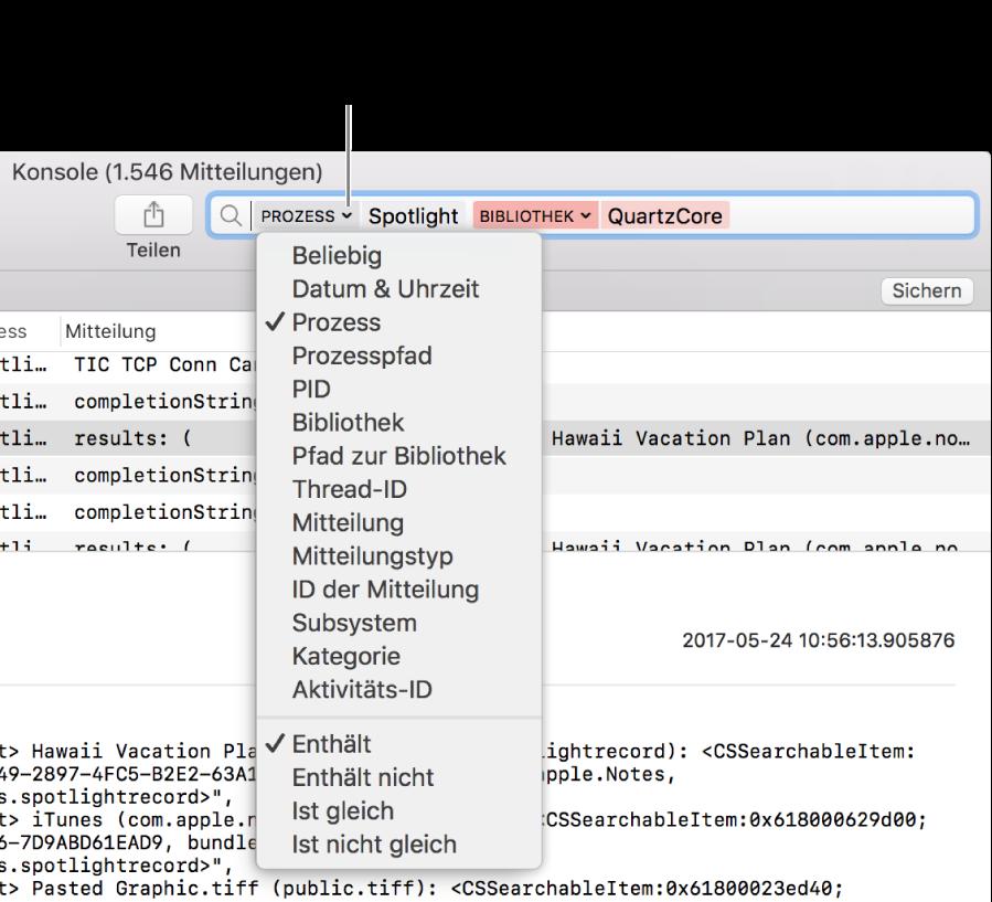 """Ganz oben im Fenster """"Konsole"""" befindet sich das Suchfeld, das zwei Suchfilter umfasst. Unter dem einen Filter wird nach dem Klicken auf das Pfeilsymbol neben dem Filter ein Menü eingeblendet. Durch das Ändern des Filters, das Hinzufügen mehrerer Filter oder das Einengen der Filterkriterien kann der Benutzer die Ergebnisse der Suche verfeinern."""