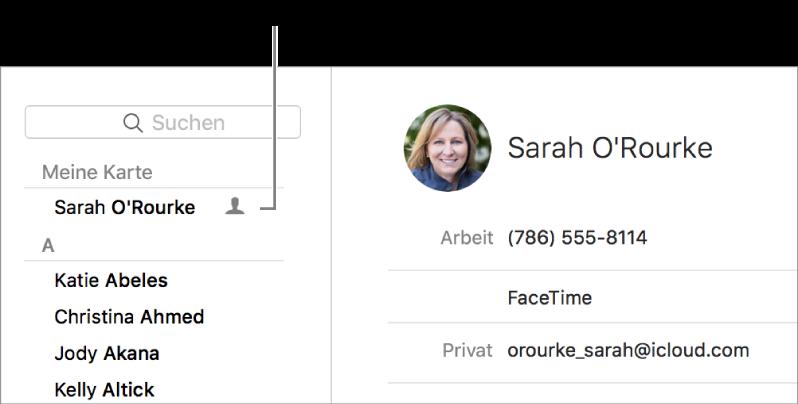 """Die Seitenleiste der App """"Kontakte"""" mit der Visitenkarte ganz oben"""