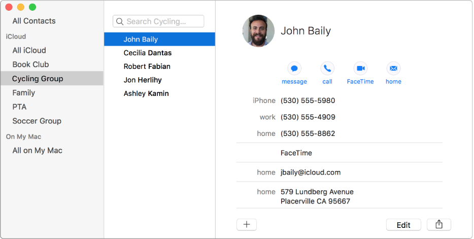 Contacts window showing the sidebar with groups such as Book Club and Cycling Group and the button at the bottom of a contact card for adding a new contact or group.