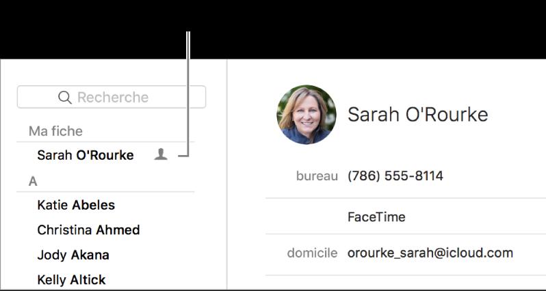 La barre latérale de Contacts affichant la fiche personnelle en haut de la liste.