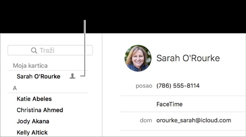 """Rubni stupac aplikacije Kontakti prikazuje karticu """"ja"""" navedenu na vrhu."""
