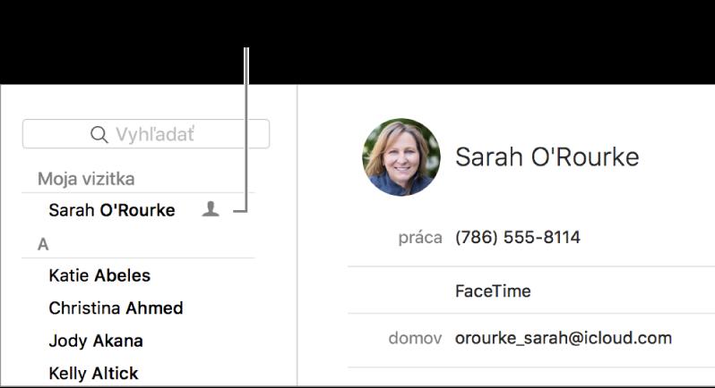 """Postranný panel Kontakty zobrazujúci vizitku """"Ja"""" na začiatku zoznamu."""