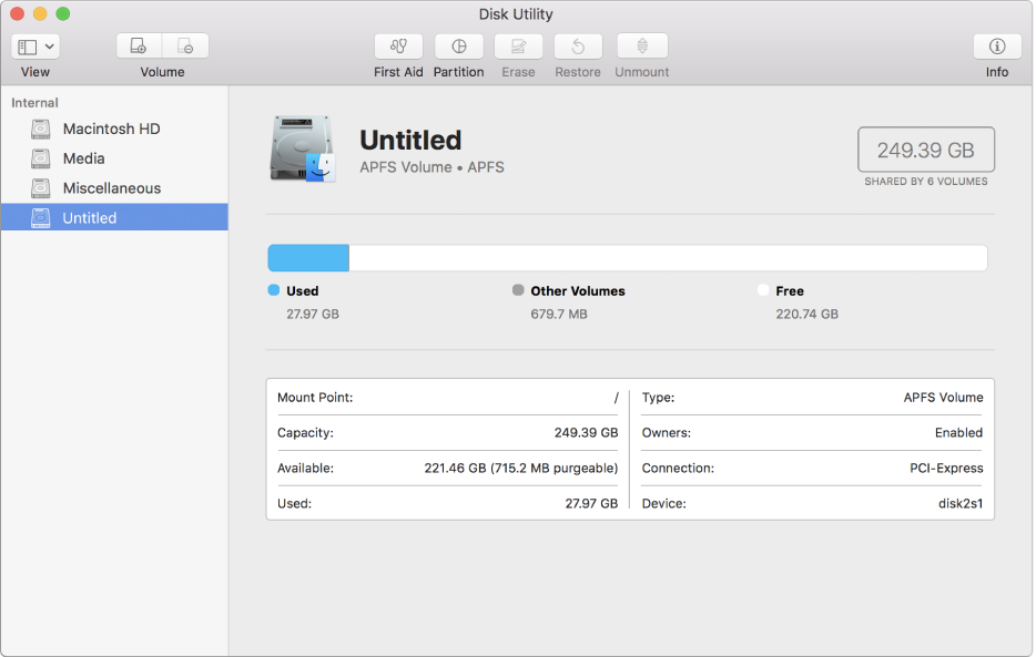 Three volumes in the APFS container in the Disk Utility sidebar.
