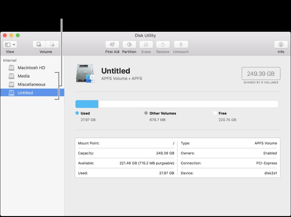 La fenêtre Utilitaire de disque affichant un conteneur APFS.