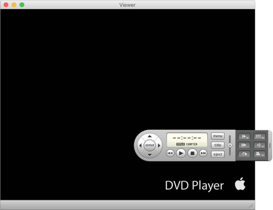 The DVD Player window and controller with a DVD movie playing.