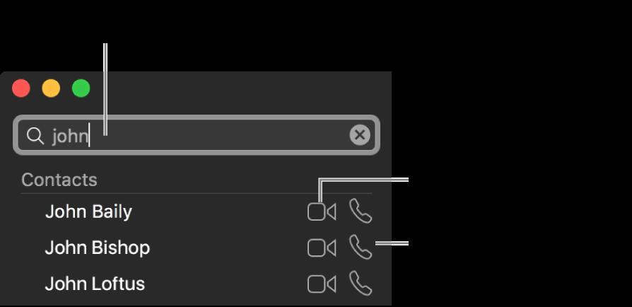 قم بإدخال الاسم، رقم الهاتف أو عنوان البريد الإلكتروني في شريط البحث. انقر على زر الفيديو لإجراء مكالمة فيديو FaceTime. انقر على زر الصوت لإجراء مكالمة FaceTime صوتية أو هاتفية.