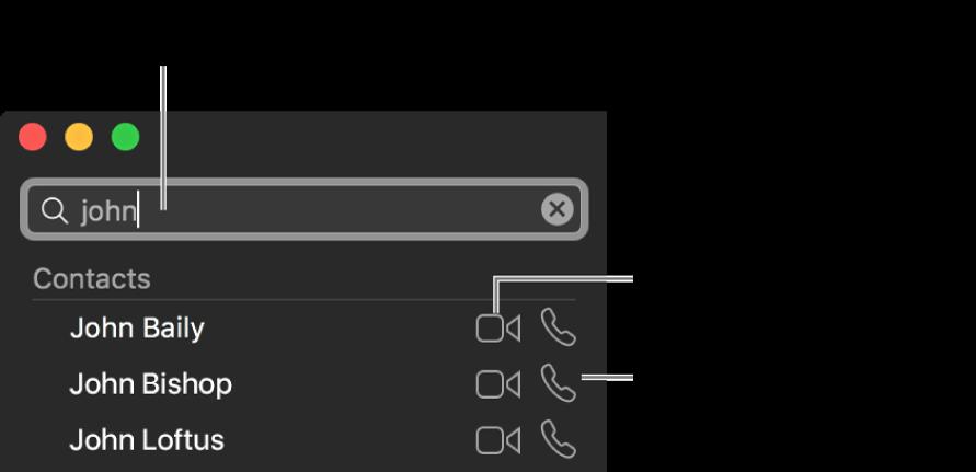 Na panel hledání zadejte jméno, telefonní číslo nebo e-mailovou adresu. Chcete‑li zahájit videohovor FaceTime, klikněte na tlačítko Video. Chcete-li zahájit audiohovor nebo telefonní hovor FaceTime, klikněte na tlačítko Audio.